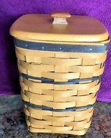 "Longaberger 1996 Basket Tall Basket W Maple Top Approx 6 1/2"" X 6 1/2"" X 8 1/2"""