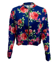 New Womens Ladies Long Sleeve Navy Printed Floral Bomber Jacket UK Sizes S-M-L