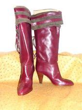 Superb Stiefel Biondini Alle Leder Wildleder Bordeaux Vintage 80 Neu T.36
