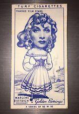 MARLENE DIETRICH 1949 Famous Film Stars TURF CIGARETTES CARD #16 Golden Earrings