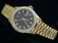 Lady Rolex 18K Yellow Gold Datejust President Watch Diamond Band Bezel Blue Dial