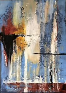 mixed-media on canvas painting abstract artwork contemporary art modern original