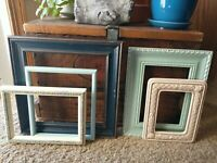 Vintage Lot 5 Picture Art Frames Green Blue tones shabby chic gesso geo project