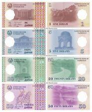Tayikistán Antigua URSS 1 + 5 + 20 + 50 Dirams 1999 Conjunto de 4 billetes de 4 Piezas UNC