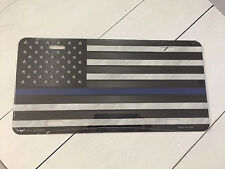 Thin Blue Line Police Metal Novelty License Plate Car Tag American Flag