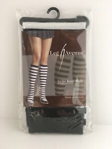 Leg Avenue White And Black Striped Knee High Stockings, Socks, Halloween, Lolita