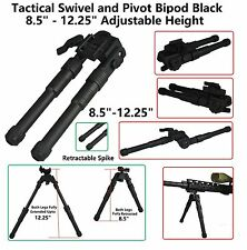 """Tactical Swivel and Pivot Bipod Anodized Black 8.5"""" - 12.25"""" Adjustable Height"""