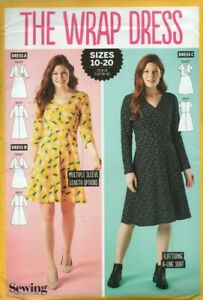 Simply Sewing Pattern for The Wrap Dress for Jersey Fabric, Sizes 10-20, New