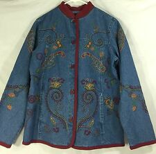 Denim & Co. Jean Jacket Embroidered Blue Floral Nehru 100% Cotton XS X-Small