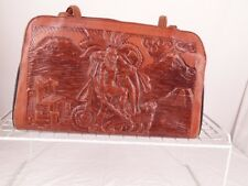 VINTAGE HAND TOOLED LARGE LEATHER SATCHEL PURSE MADE IN MEXICO AZTEC DESIGN