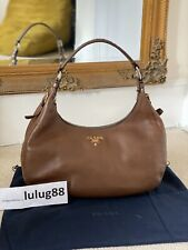 100% Authentic Prada Vitello Daino Brown Leather Shoulder Handbag RRP £820