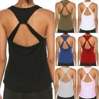 Racer Back Tank Top Women Sleeveless Cotton Yoga Gym Workout Fitness Beach Cover