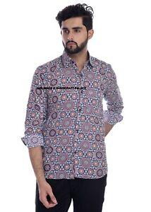 Indien Main Bloc Imprimé Chemises pour Homme Plage Soirée Manches Longues Coton