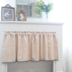 130x60cm Half Short Curtain Kitchen Dining Blackout Cabinet Door Pom Pom Drapes