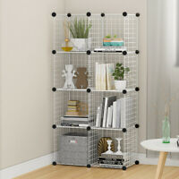8 Cube Storage Shelf Rack DIY Wire Grid Bookcase Display Cabinet Shelving