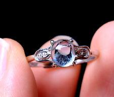 Natural Blue Aquamarine Gemstone  Bead Adjustable Ring silver 1.79g