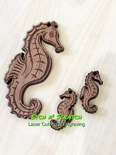 Laser Cut timber Seahorse Pendent And Earrings