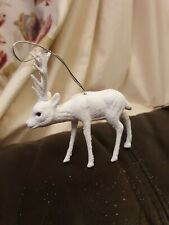 Christmas tree Hanging Decoration White Glittered Reindeer 13cm