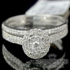 Ladies 14k 100% White Gold Solitaire Diamond Bridal Wedding Band Engagement Ring