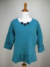 J JILL Sweater M Blue Teal Wool Blend Boxy Cropped Crop