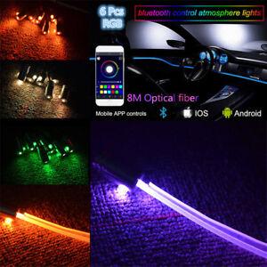 RGB 6LED Car Interior Trim Neon Light Strip w/ 8M Optic Fiber Blueteeth App 12V