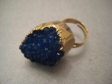Blue Agate Druzy Geode Adjustable Ring 1pc