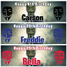 2 personalised birthday banner guy fawkes day bon fire hackers party poster deco