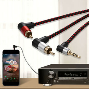 Braided 2RCA to 3.5mm Audio Cable HiFi Stereo AUX Cord Y Splitter For TV TAY