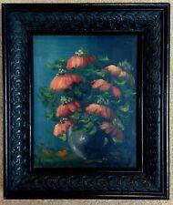 Original Oil Still Life ORANGE FLOWERS signed REMI in Black Ornate Wood Frame