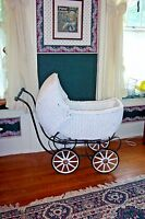 Antique Baby Buggy  Wicker 1920s ?  Painted White  Great to display Dolls in