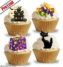 PRE-CUT HALLOWEEN MIX V. EDIBLE WAFER PAPER CUP CAKE TOPPERS PARTY DECORATIONS