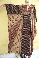 Vtg 70s Indian Block Print Caftan Kaftan Muu Muu Maxi Dress Boho Hippie Ethnic