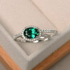 1.90 Ct Genuine Diamond Emerald Engagement Band Sets 14K Solid White Gold Ring