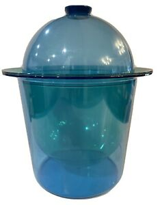 Vintage Mid Century Modern Blue Lucite Acrylic Ice Container Food Server Dome