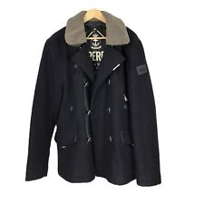 Superdry Blue Navy Label Wool Blend XXL Winter Overcoat Smart Coat