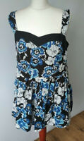 Pepperberry By Bravissimo Floral Empire Line Top Curvy Black Blue Summer Size 16