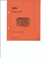 Braun Original Service Manual für Super SK 2