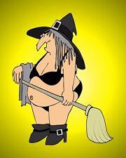 METAL MAGNET Halloween Witch Black Bikini Broom Yellow Background MAGNET