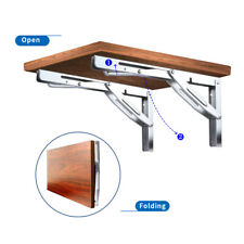 "2X Stainless Steel 12"" Fold Down Shelf Bench Table Bracket Wall Mount Heavy Duty"
