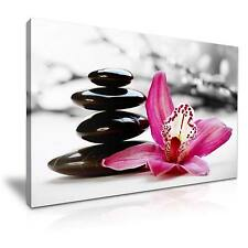 Large Orchid Flower Spa Stone Canvas Wall Art Picture Print A1 76x50cm 11