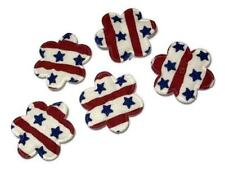 "5 pcs Red white & blue 4th of July flower 1 1/8"" padded applique DIY hair bows"
