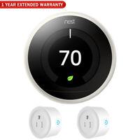 Google Nest Learning Thermostat 3rd Gen (White) w/ Extended Warranty & Smart Plu