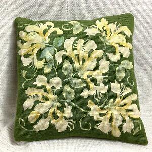 Vintage Needlepoint Cushion Pillow Hand Sewn Velvet Green Yellow  Embroidery