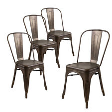 Set of 4 Tolix Style Metal Chairs in Bronze As Is