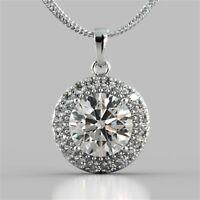 Pave 0,80 Cts Runde Brilliant Cut Diamanten Halo Tier Anhänger In Feine 18K Gold