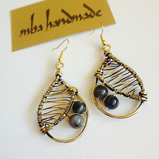 Brass Wire Wrapped Vintage Jewelry Natural Rainbow Labradorite Crystals Earrings