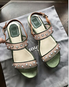 New CHRISTIAN DIOR JOY embellished Espadrille Platform Sandals Shoes 36