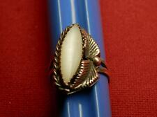 old vtg ring sz 5-1/2 hand-made designer sterling silver(?) custom MOP (?) stone