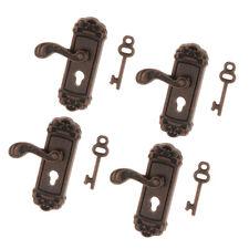 12. Metalltürgriff linke Knopfplatte & Schlüsselsatz Puppenhaus Miniatur 4tlg