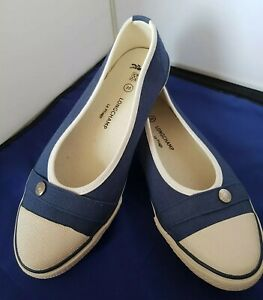 Longchamp Le Pilage Women's Shoes UK 4 Eur 36 Blue Canvas Pumps Flats BNWOB